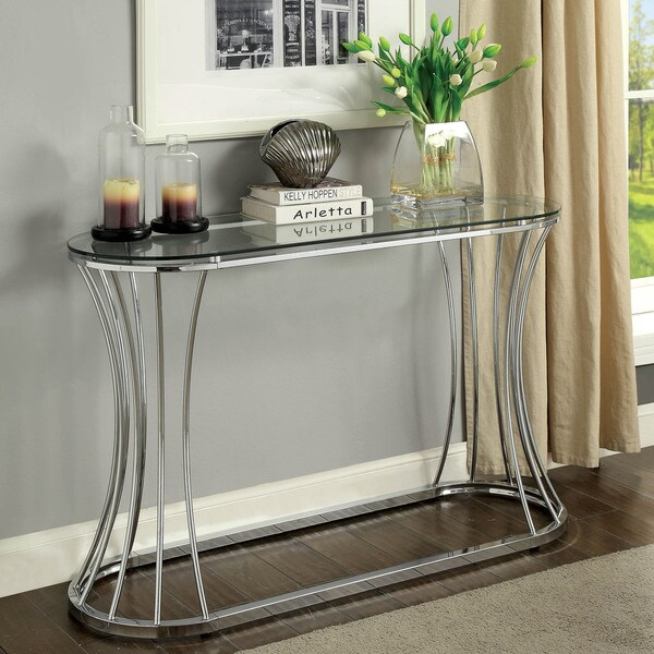 Shop Breckenwald Contemporary Chrome Slatted Sofa Table by FOA - On ...
