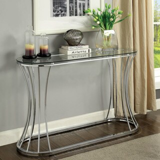 Link to Furniture of America Laud Contemporary Chrome Metal Oval Sofa Table Similar Items in Living Room Furniture