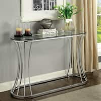 Furniture of America Breckenwald Contemporary Slatted Chrome Sofa Table