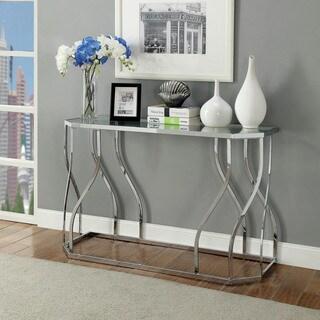 Furniture of America Kofu Contemporary Chrome Metal Sofa Table
