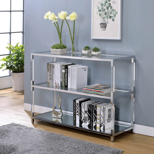 Furniture Of America Thalberg Contemporary Chrome Sofa Table