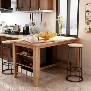Delrio Rustic Weathered Natural Kitchen Island by FOA