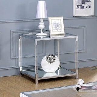Furniture of America Fald Contemporary Chrome Metal 1-shelf End Table
