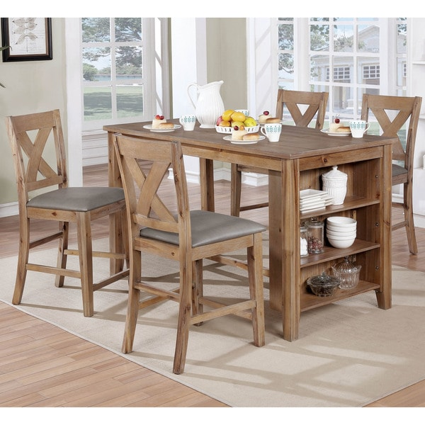 counter height chairs for kitchen island shop furniture of america delrio rustic 5 counter 9486
