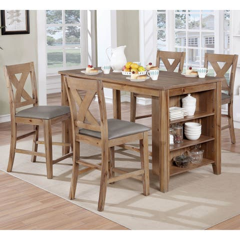 Delrio Rustic Weathered Natural 5-Piece Kitchen Island Set by FOA