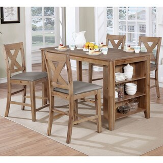Furniture of America Delrio Rustic 5-Piece Counter Height Table/Kitchen Island Set