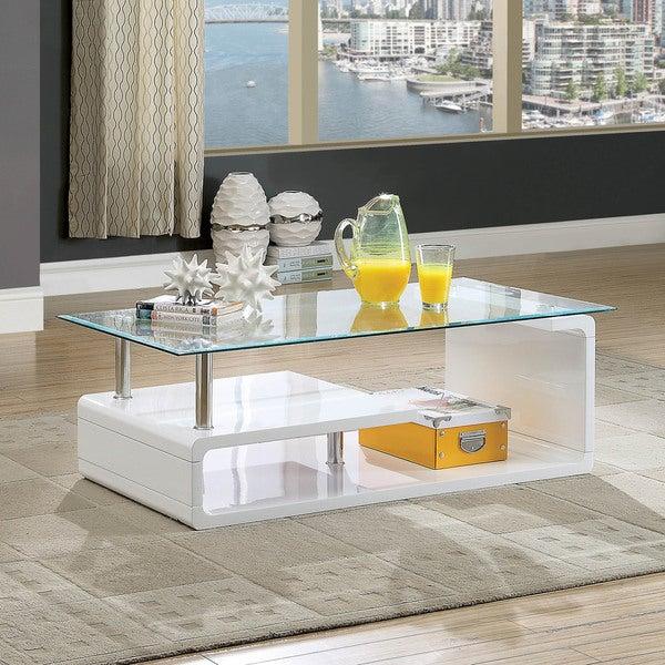 Shop Furniture Of America Frank Contemporary Glass Coffee