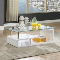 Furniture of America Frank Contemporary Glass Coffee Table