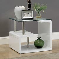 Furniture of America Frank Contemporary Glass End Table