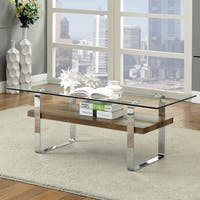 Furniture of America Catalan Contemporary Glass Coffee Table