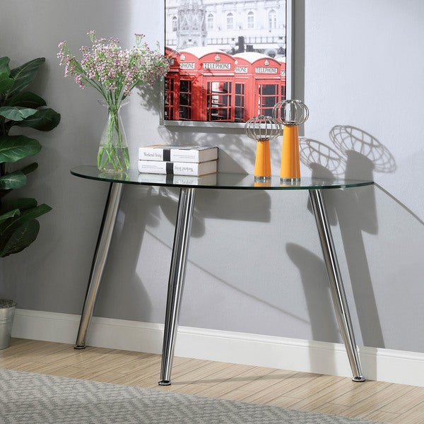 Furniture of America Shab Contemporary Chrome Metal Sofa Table