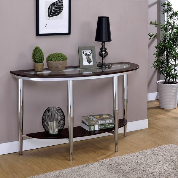 Furniture Of America Jena Contemporary Semi Circle Sofa Console Table