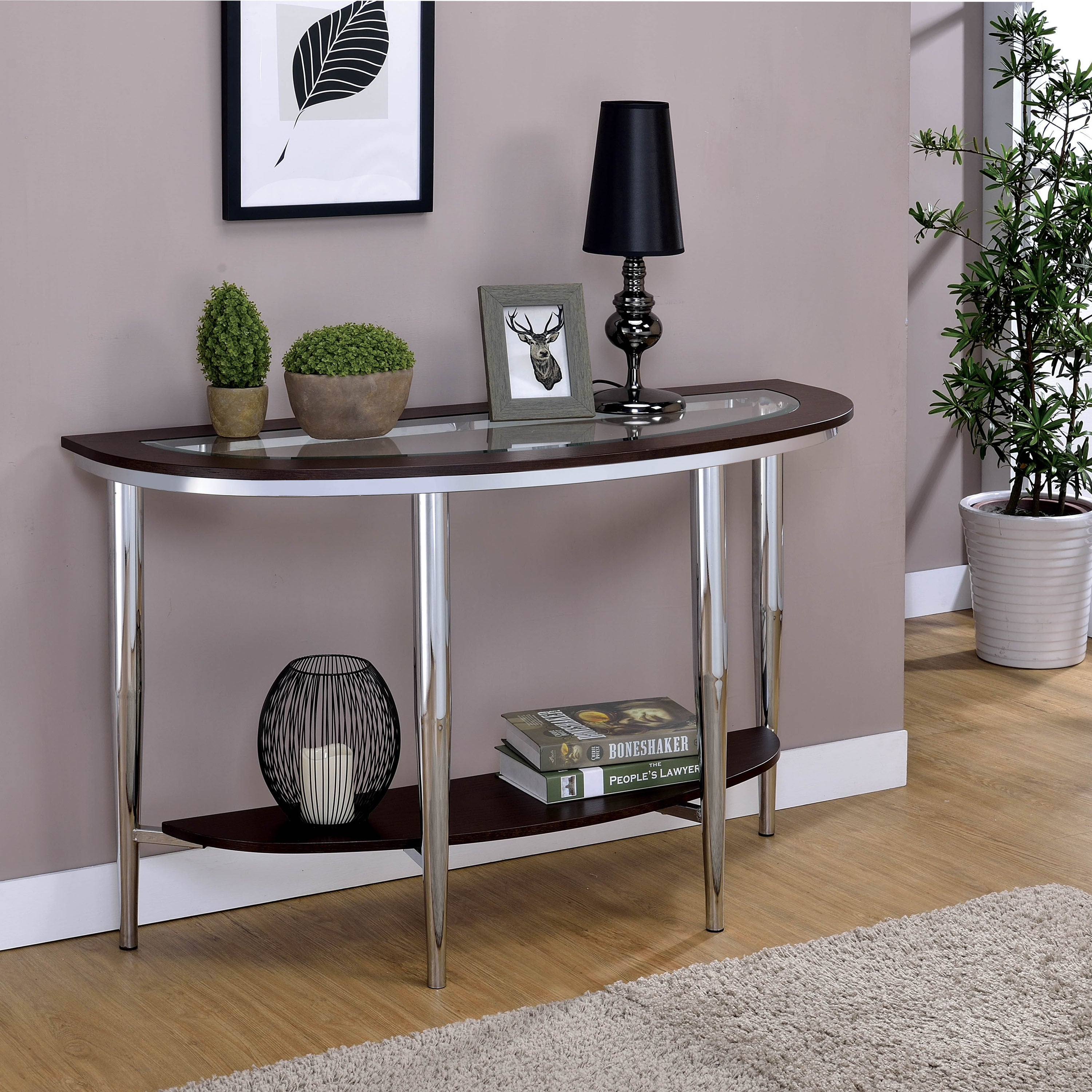 Picture of: Furniture Of America Jena Contemporary Brown Metal Sofa Table Overstock 20300889