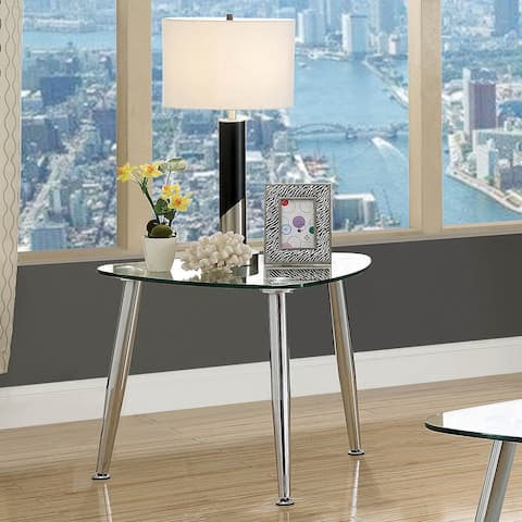 Furniture of America Shab Contemporary Chrome Metal End Table