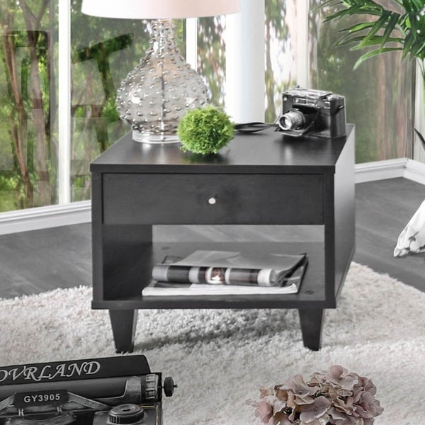 Furniture of America Miti Contemporary Espresso 1-drawer End Table