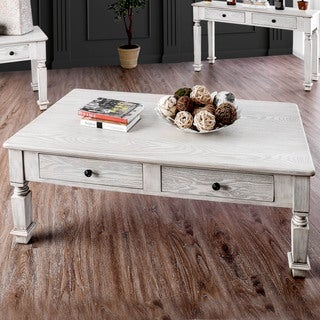 Furniture Of America Julian Country Farmhouse Antique White Coffee Table