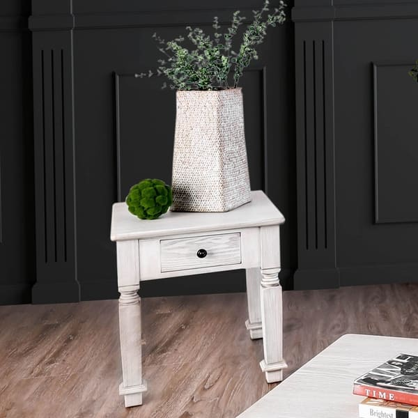 Furniture of America Joby Country White Solid Wood 1-drawer End Table