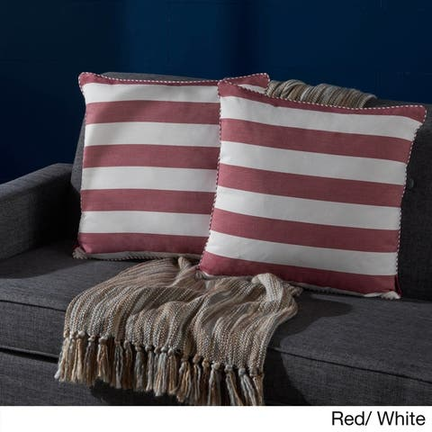 Mireille Striped Fabric Pillow (Set of 2) by Christopher Knight Home