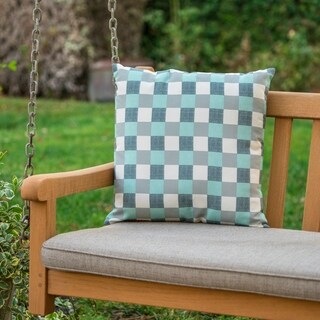 Pendry Outdoor Square Plaid Pillow by Christopher Knight Home