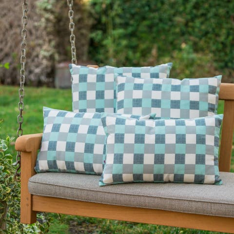 Pendry Outdoor Plaid Pillow (Set of 4) by Christopher Knight Home