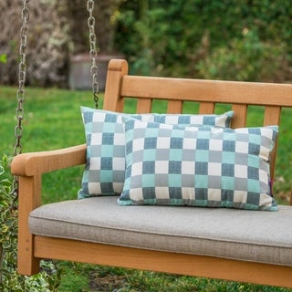 Pendry Outdoor Plaid Pillow (Set of 2) by Christopher Knight Home