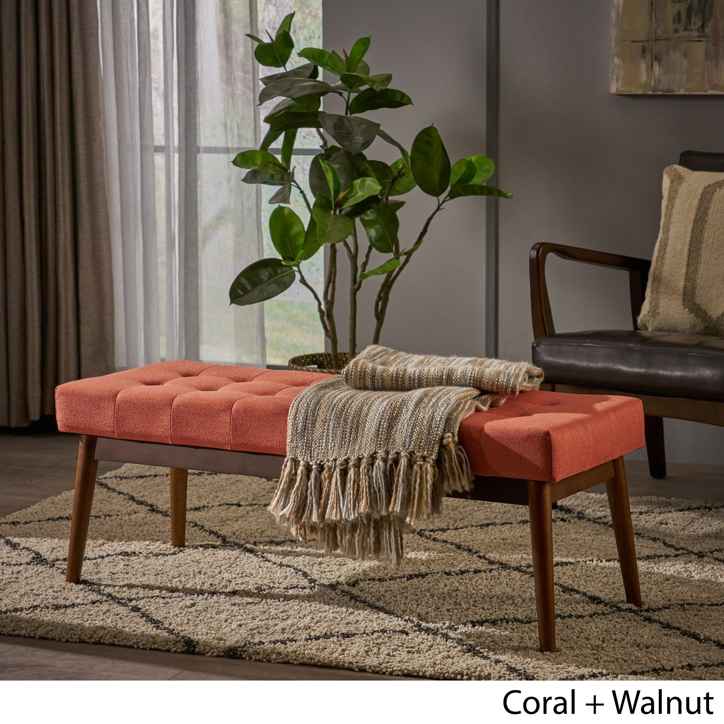 Cool Flavel Mid Century Tufted Fabric Ottoman Bench By Christopher Knight Home Beatyapartments Chair Design Images Beatyapartmentscom