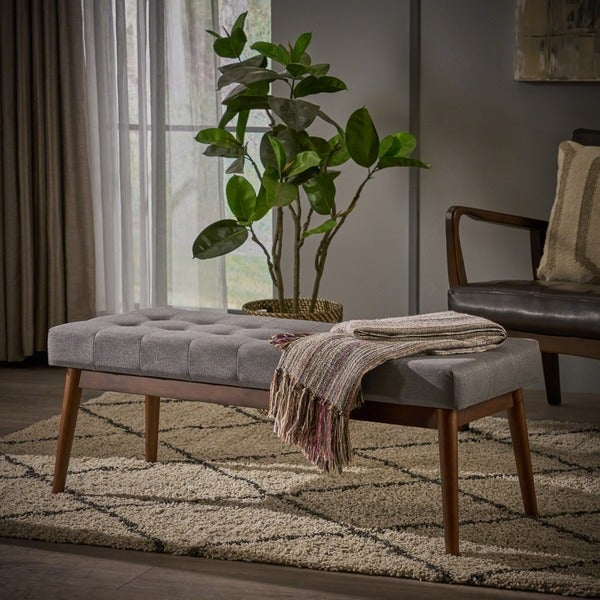 Shop Flavel Mid Century Tufted Fabric Ottoman Bench By