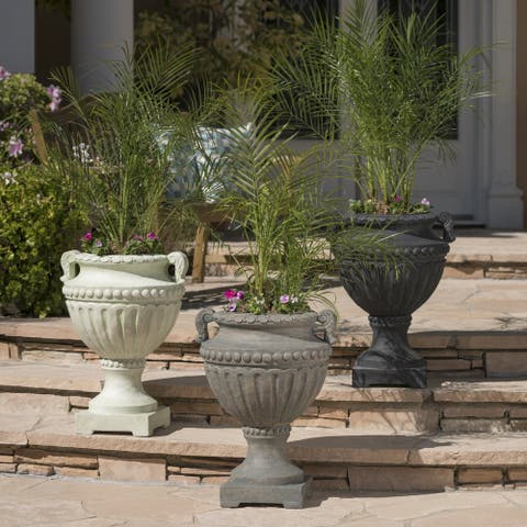 Alston Outdoor 24-inch Cast Stone Urn by Christopher Knight Home
