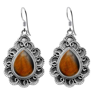 925 Sterling Silver Handmade Bali Work Oxidized Earrings with Choice of Gemstone
