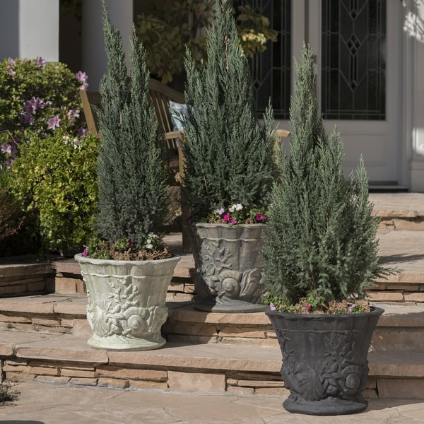 Guava Outdoor 15-inch Cast Stone Urn by Christopher Knight Home. Opens flyout.