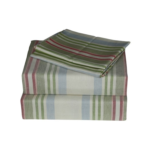 Just Linen 300 Thread Count 100 Cotton Twill Multi Color Striped Bedding Sheet Set With Deep Pocketed Ed Sheets Free Shipping Today