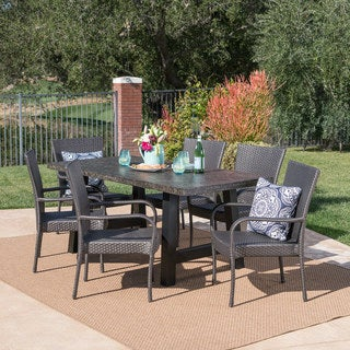 Pelican Outdoor 7-piece Rectangle Light-Weight Concrete Wicker Dining Set by Christopher Knight Home