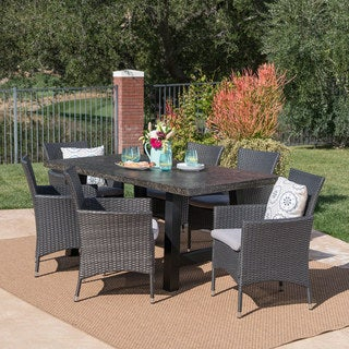 Moana Outdoor 7-piece Rectangle Light-Weight Concrete Wicker Dining Set with Cushions by Christopher Knight Home