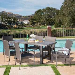 Morrison Outdoor 7-piece Rectangle Light-Weight Concrete Wicker Dining Set by Christopher Knight Home