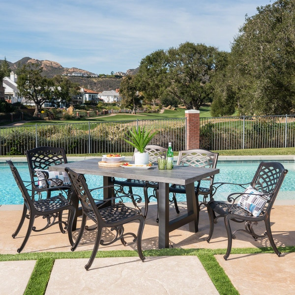 Dory Outdoor Rectangle Light-Weight Concrete Aluminum Dining Set by Christopher Knight Home. Opens flyout.