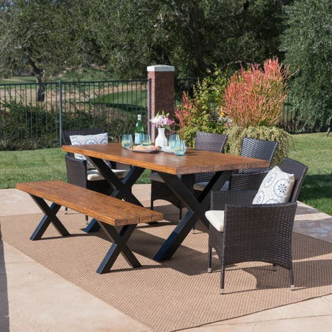Eric Outdoor Rectangle Light-Weight Concrete Wicker Dining Set with Cushions by Christopher Knight Home