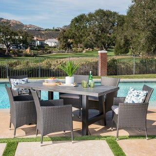 Sina Outdoor Rectangle Light-Weight Concrete Wicker Dining Set with Cushions by Christopher Knight Home