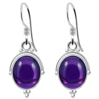 925 Sterling Silver Handmade Cabochon Dangle Hook Earrings with Choice of Gemstone