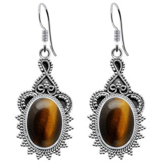 925 Sterling Silver Handmade Oxidized Stylish Hook Earrings with Choice of Gemstone