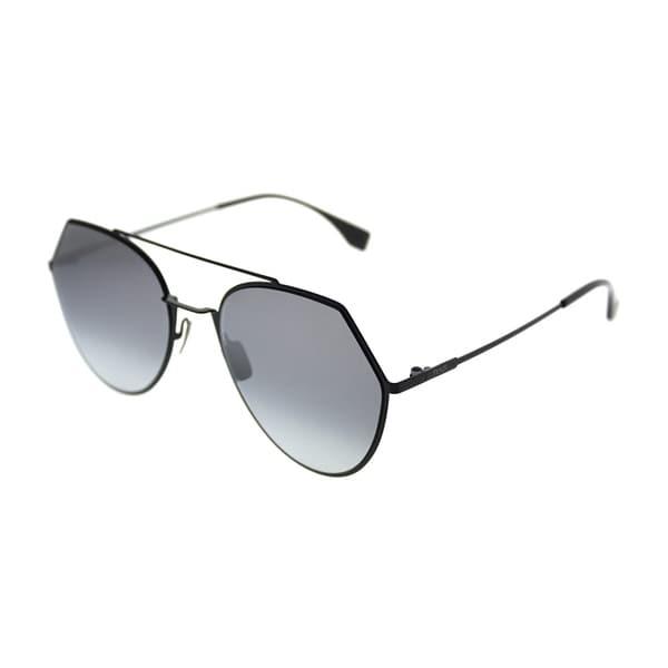 06840a2f4d Fendi Aviator FF 0194 Eyeline 807 Unisex Black Frame Silver Mirror Lens  Sunglasses