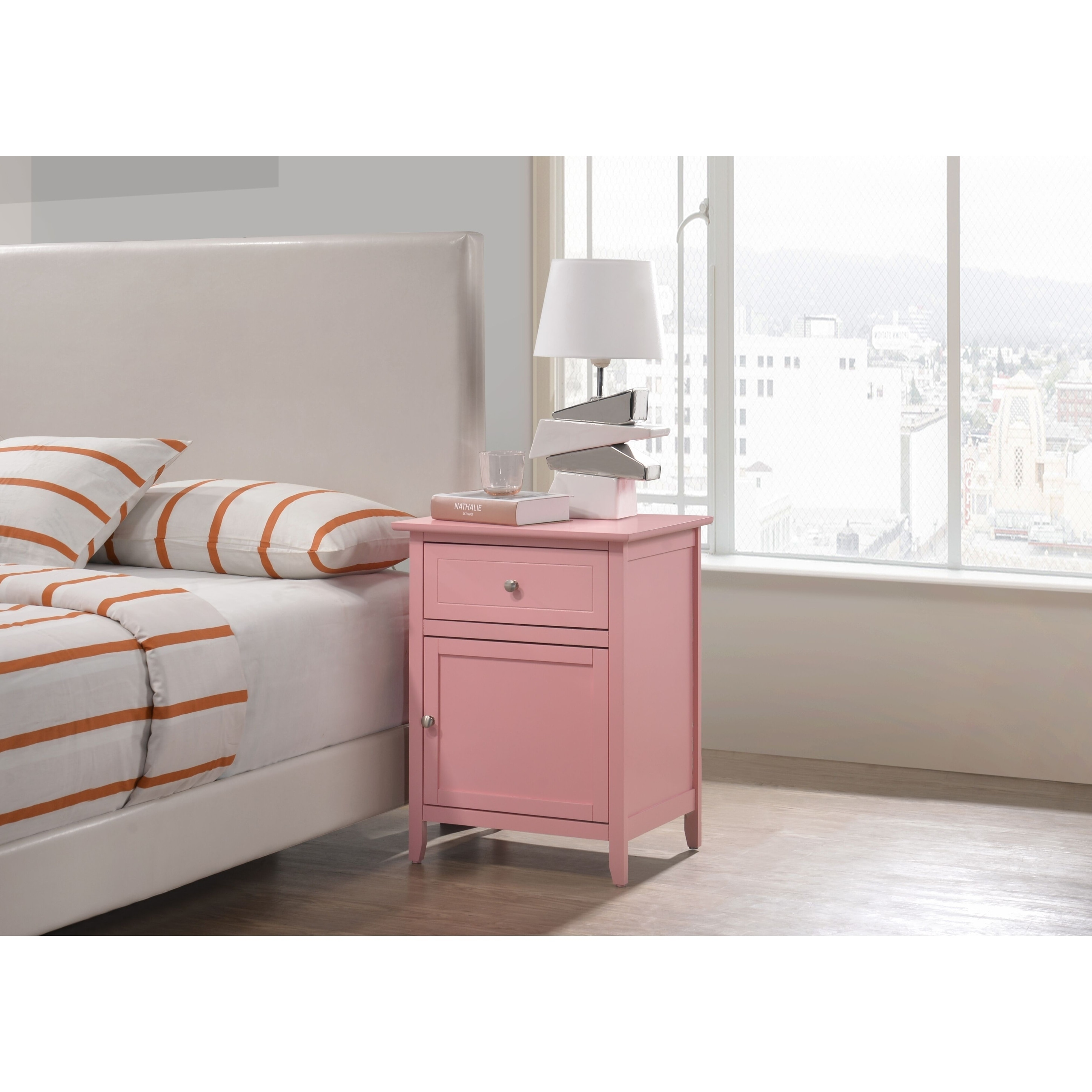 Izzy 1 Drawer And Cabinet Wooden Nightstand