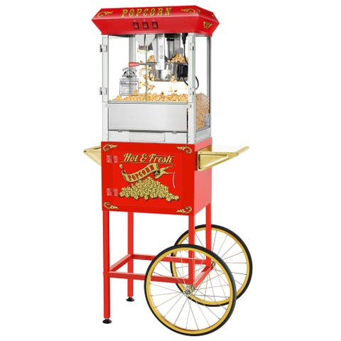 Hot and Fresh Popper Machine with Cart (Red)