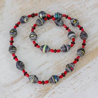 Handmade Pinewood Recycled Paper 'Earth Energy' Necklace (Guatemala)