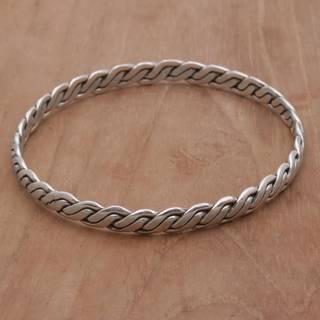 Handmade Sterling Silver 'Shining Sheaves' Bracelet (Indonesia)