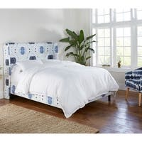 Skyline Furniture Wingback Bed in Delray Blue