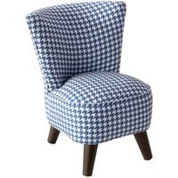 Skyline Furniture Kids Modern Chair in Chunky Houndstooth Navy