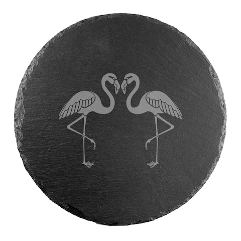 Flamingos Round Slate Server