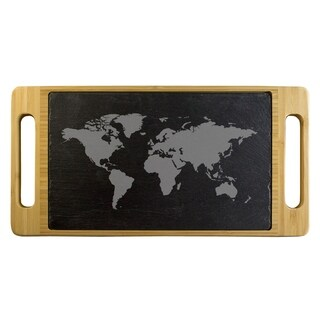 Map of the World Slate & Bamboo Serving Tray