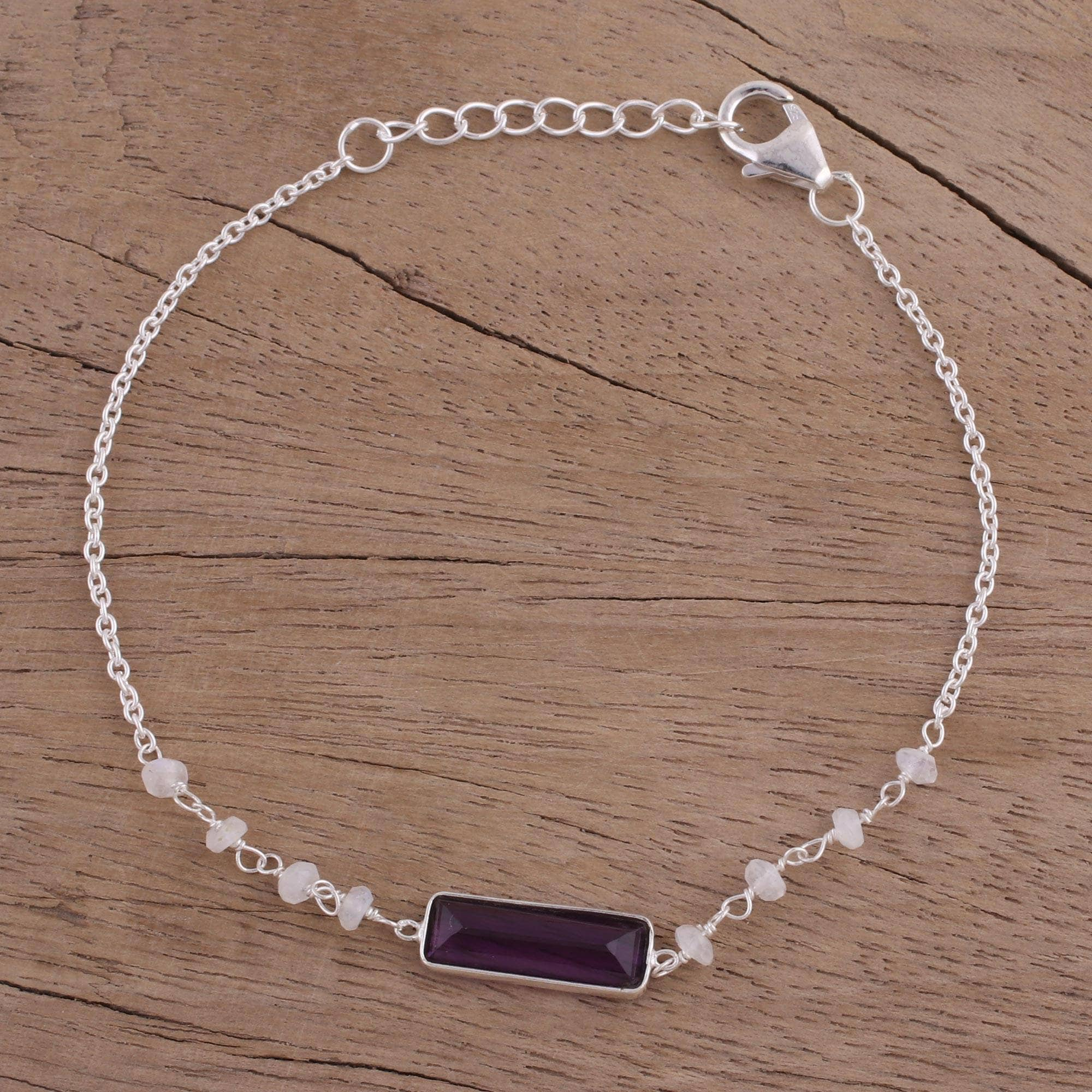 Handmade Sterling Silver Magical Prism Amethyst Rainbow Moonstone Bracelet India