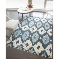 "Beatrice Modern Blue Ikat Area Rug - 7'10"" x 9'10"""